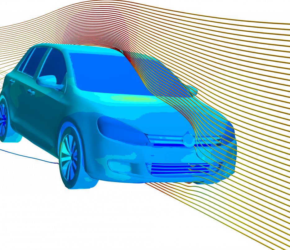 thermal and cfd coupled simulation of volkswagon golf transparent