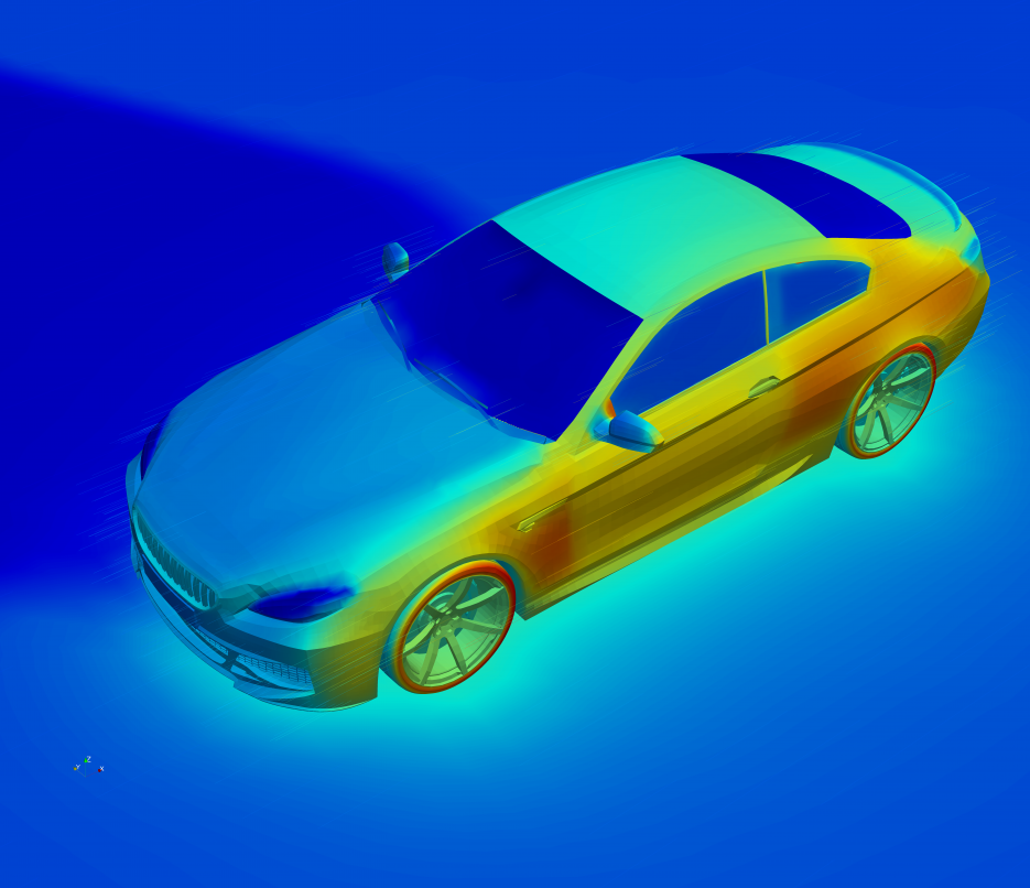 thermal model of sedan with solar loading