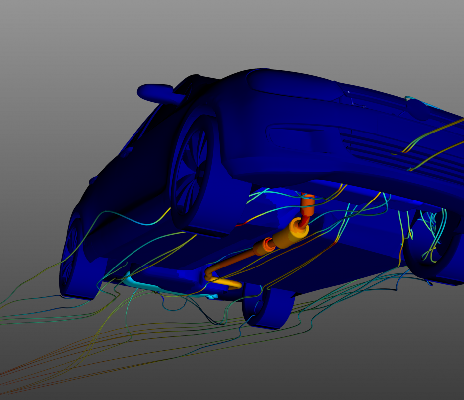 underbody thermal analysis of volkswagon golf with thermal results and cfd streamlines