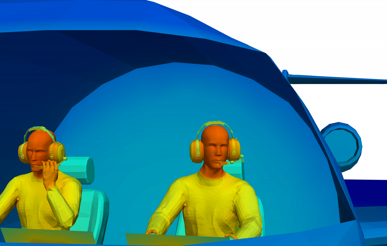 close up of thermal model of two pilots in plane cockpit