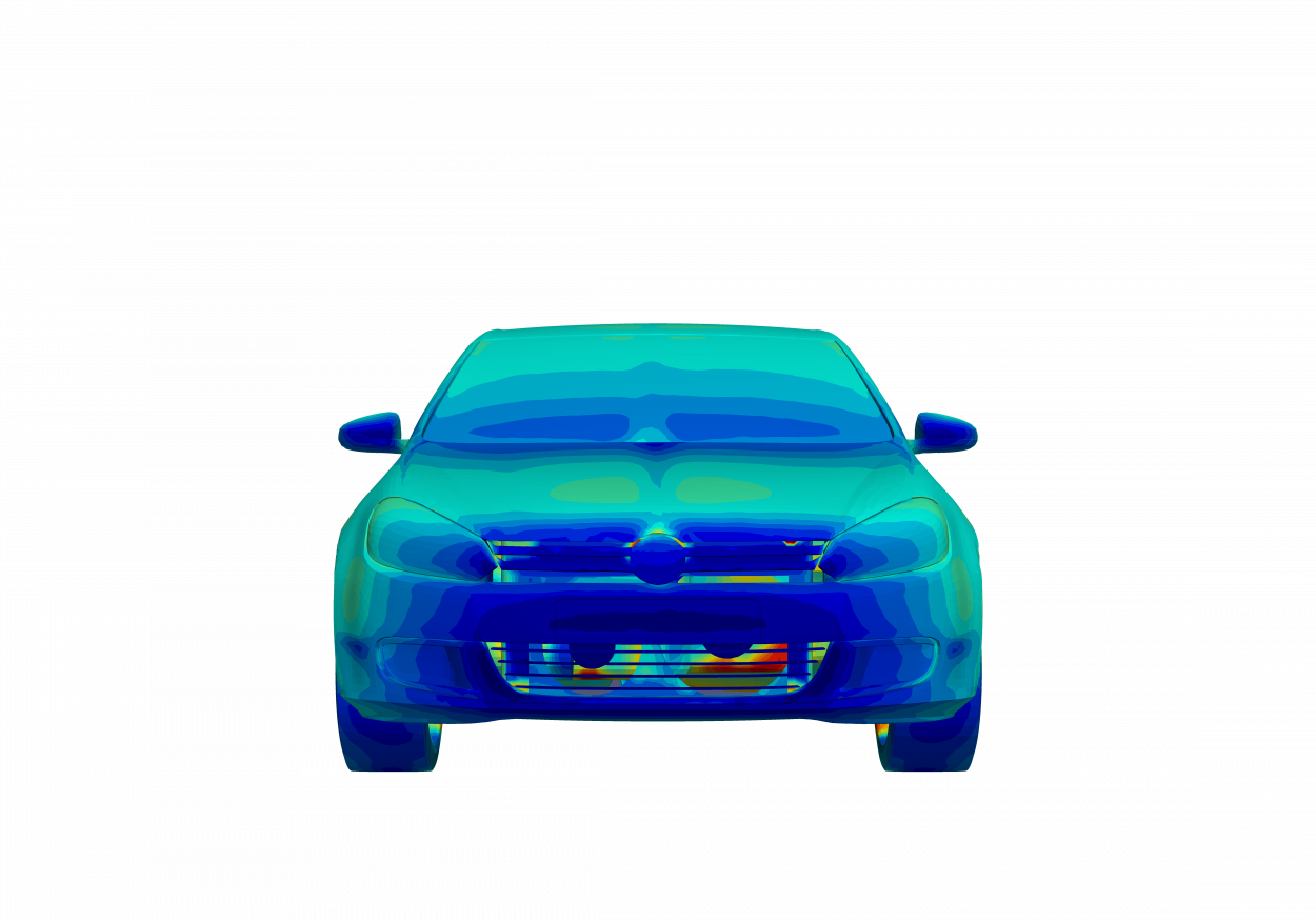 front of volkswagon golf with warm hood and hot underbody for thermal analysis