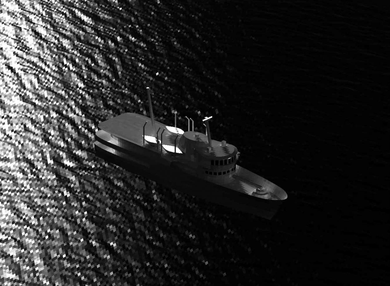 infrared and signature simulation of ship in water from an aerial perspective