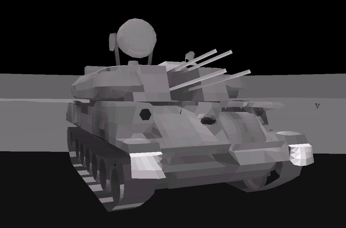 signature and infrared military tank zsu rendering with environment background