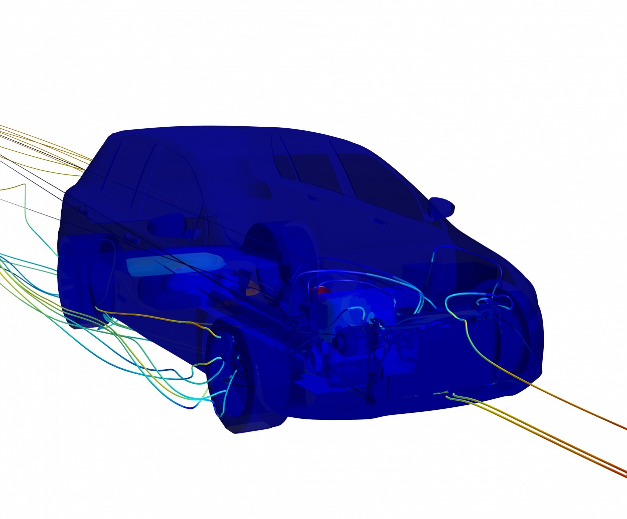 thermal and cfd model of volkswagon golf with streamlines through grill and underbody