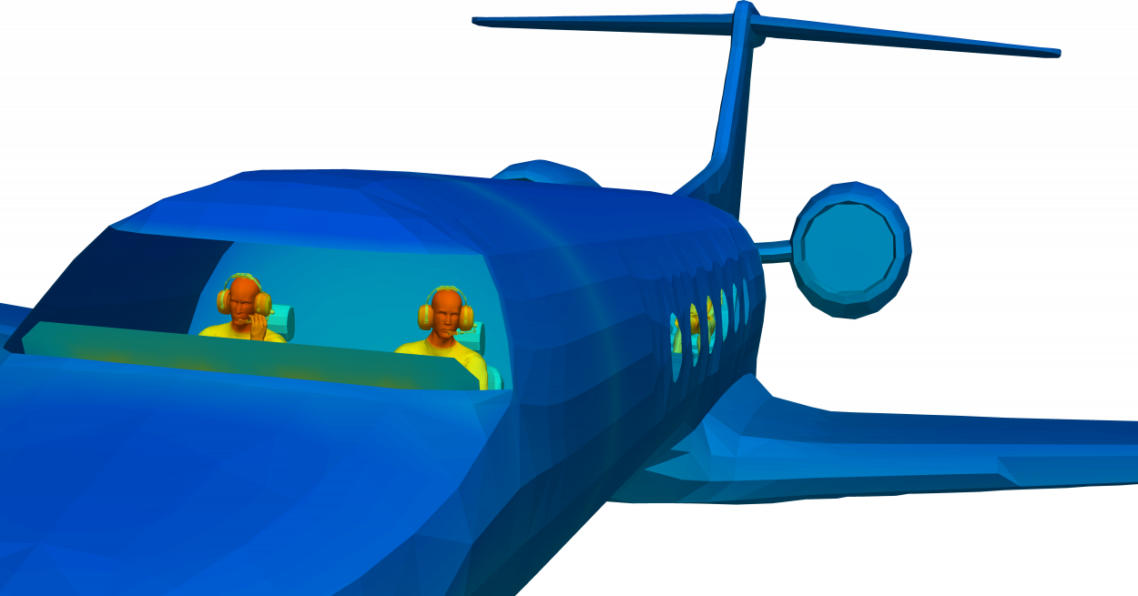 thermal comfort of model of pilots in cockpit with sideview of airplane and passengers
