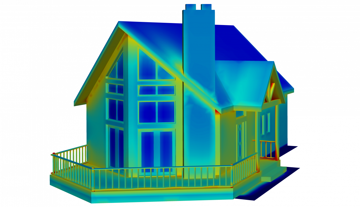 thermal model of a house with large windows and steep roof for architecture analysis