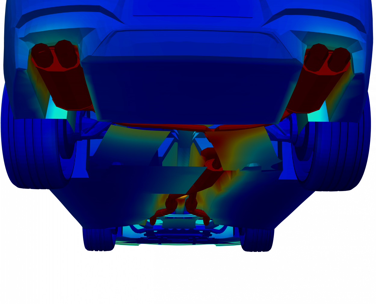 thermal model of underbody exhaust of car