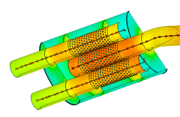 thermal results of muffler with pipes