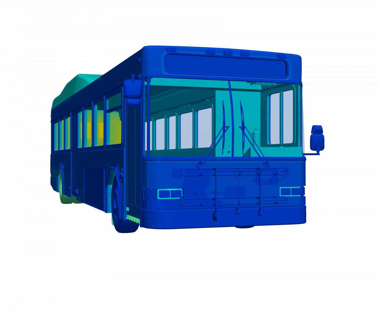 thermal simulation model city bus cool cabin from front