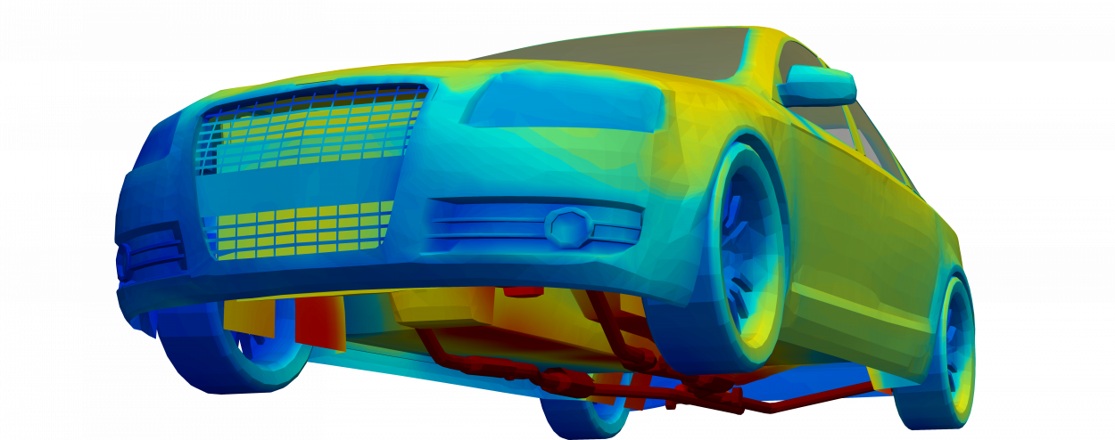 thermal simulation model of audi a6 showing underbody and exhaust heat radiation