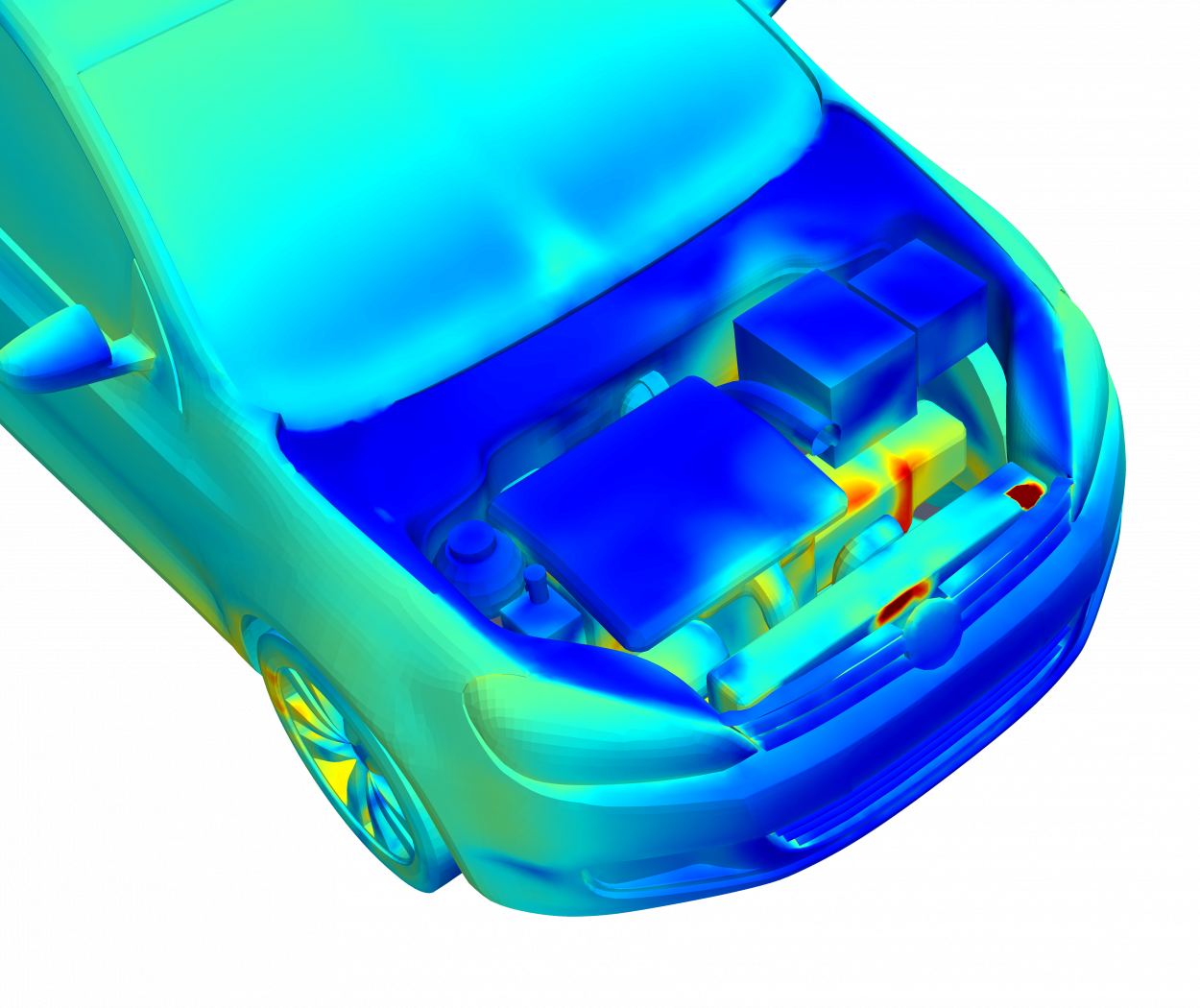 thermal simulation model of volkswagon golf with engine compartment