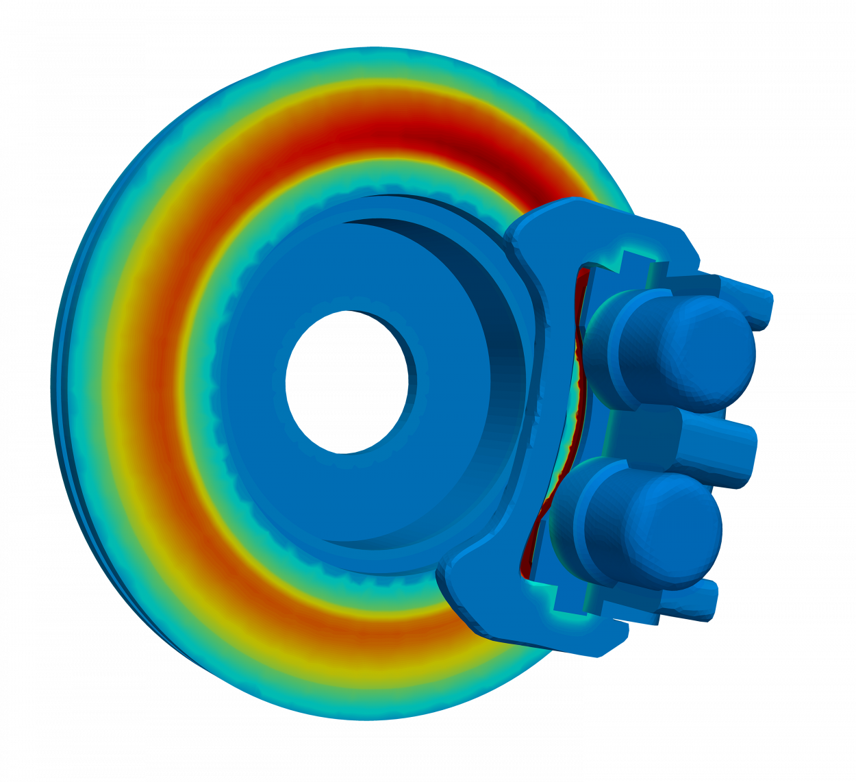 thermal simulation of brake disc and caliper showing heat generation from friction