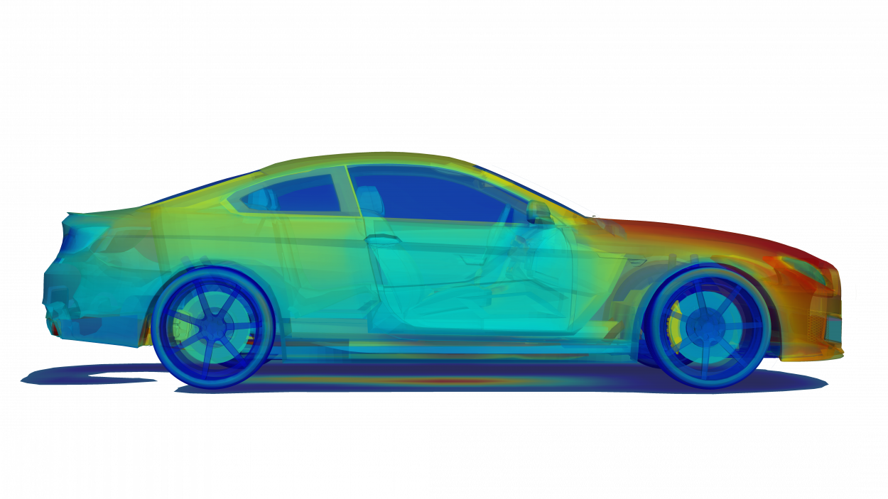 thermal simulation of a sedan with visible interior