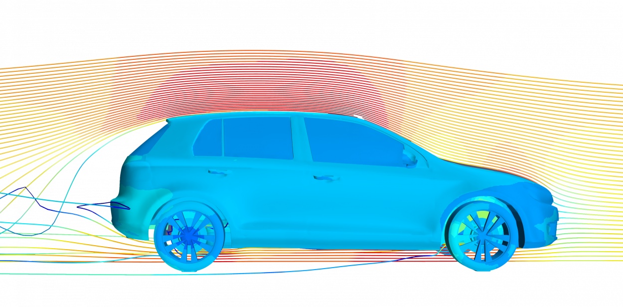 profile view of volkswagon golf with cfd streamlines over windshield and underbody for thermal simulation